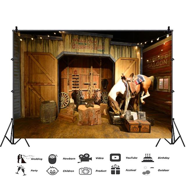 Haoyiyi 6x8ft Wild West Western Cowboy Party Themed Backdrop Farm Shabby Small Old Barn Wood House Wood Wooden Background Photography Photo Newborn Boy Girl Travel Adventure Decoration