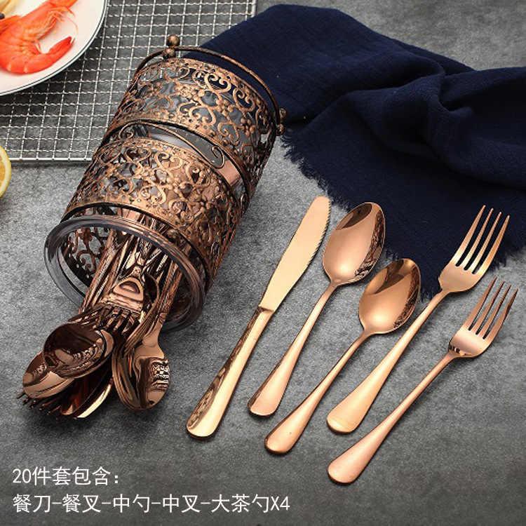 Rose Gold ชุดอาหารเย็นงานแต่งงาน Rosy ชุดช้อนส้อมสแตนเลสสตีลมีดส้อมช้อนเครื่องเงินขายส่ง