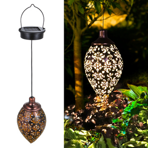 Waterproof solar garden light LED Lantern Hanging Outdoor solar Lamp Olive Shape Sensitive Sensor Control Solar Powered lamp(China)