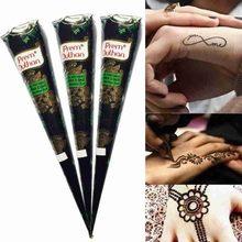 Cono de Henna Natural para tatuaje temporal, pasta de encaje marrón para boda, pegatina impermeable, joyería india, arte corporal, crema para tatuajes