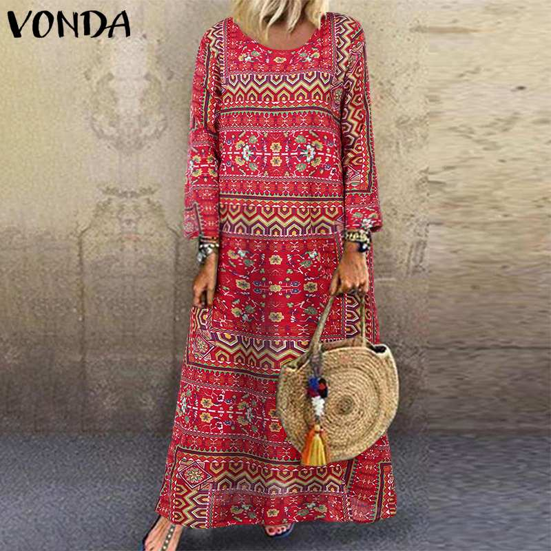 Printed Maxi Long Dress Women Bohemian Party Dress VONDA 2019 Spring Female Robe Casual Vintage Long Sleeve Vestido Plus Size