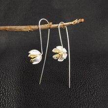 купить New Fashion S925 Silver Earrings For Women Elegant Silver Color Handmade Lotus Pendant Long Hook Drop Earrings Jewelry Female по цене 184.32 рублей