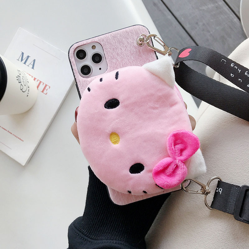 Cartoon Mini Wallet Case For iPhone 11 Pro Max Mink Plush Case For iPhone 6s 6 7 8 Plus XS Max Xr X Mobile Phone Case Cover