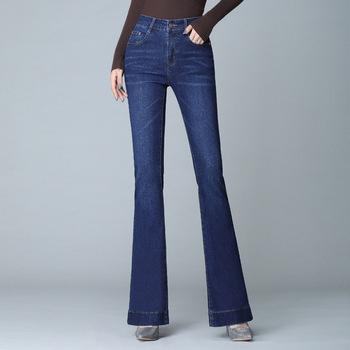 Lguc H jeansy rozkloszowane 2019 nowe dżinsy z szeroką nogawką kobieta Stretch wysokiej talii kobiety dżinsy hafty dżinsy dla mamy Push Up dżinsy damskie tanie i dobre opinie Lguc H Pełnej długości COTTON spandex Wiskoza Na co dzień H1920 Zmiękczania Spodnie pochodni skinny light Wysoka Kieszenie