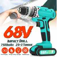 Cordless Electric Drill 68V 7500mAh Screwdriver 25+3 Torque Impact Drills 2-Speed Tools Power Driver Li-ion Battery + LED lights