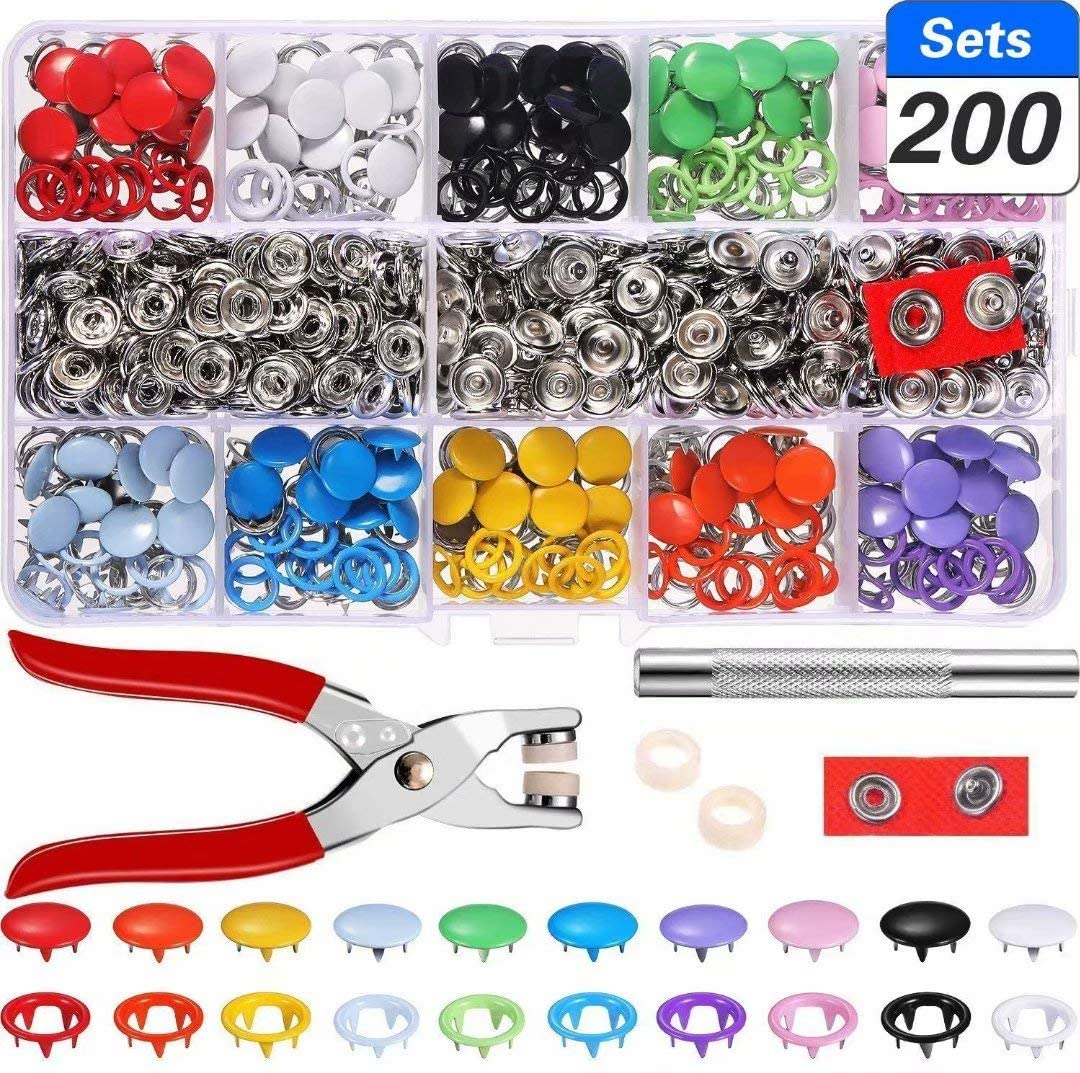 200 Set Hollow Solid Romper Snaps Tongue Buckle Metal Ring Button for Baby Kids Clothing Sewing Craft 9.5mm, 10 Colors