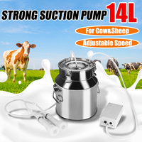 14L Electric Milking Machine Stainless Steel Bucket For Farm Pasture Cows Goats Stainless Steel Bucket Cow Goat Sheep Milker