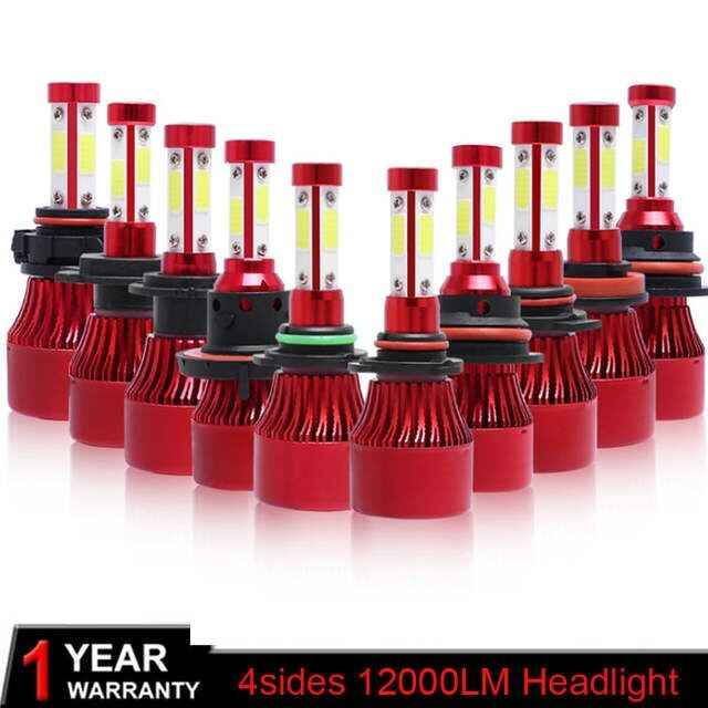 Black Red 4 Side Lumens COB 72W 12000lm LED Bulb H4 H7 H11 H13 HB3 9005 HB4 9006 9004 9007 Car Headlight Auto Headlamp Light 12v