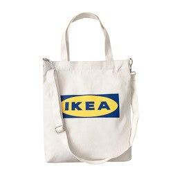 Новые модные женские сумки с буквенным принтом, тканевая сумка-тоут, Хлопковая сумка для покупок, путешествий, женские многоразовые сумки ч...