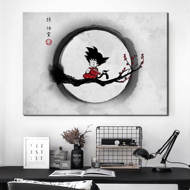 Canvas Painting Printed Home Decoration Modular Poster Pictures 1 Panel Goku Dragon Ball Wall Artwork For Living Room Framework