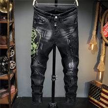 2021 novo estilo outono rasgado jeans masculino magro pp lavagem preto strass calças moda tendência roupas