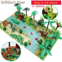 새로운 쥬라기 공룡 세계 나무 숲 동물 액션 피규어 빌딩 블록 호환 도시 DIY MOC 벽돌 아이 장난감