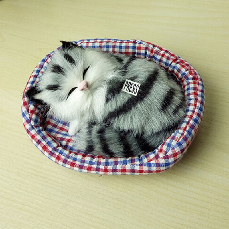Design Kawaii Simulation Sounding Sleeping Cats Baby Plush Toy With Nest Children's Favorite Birthday Christmas Gift For Kids