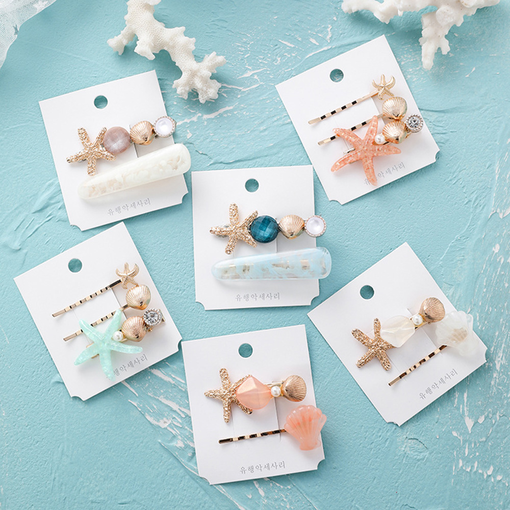 2019 New Fashion Pearl Barrettes Starfish Hair Grip Shell Hairpin Hair Clip Set Hair Accessories For Women Girls Wedding Gift
