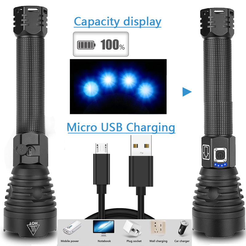 400000 Lm Xhp90.2 Most Powerful Led Flashlight Torch Usb Xhp50 Rechargeable Tactical Flashlights 18650 Or 26650 Hand Lamp Xhp70