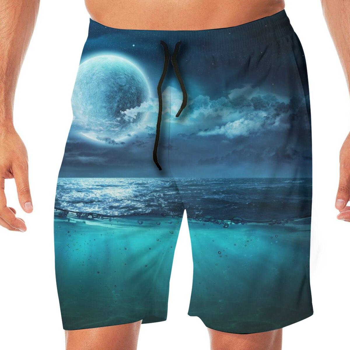 Full Moon On Sea Night Scene Mens Swimsuit Swimwear Men Swimming Shorts Beach Short Sports Suits Surf Board Swim Trunks