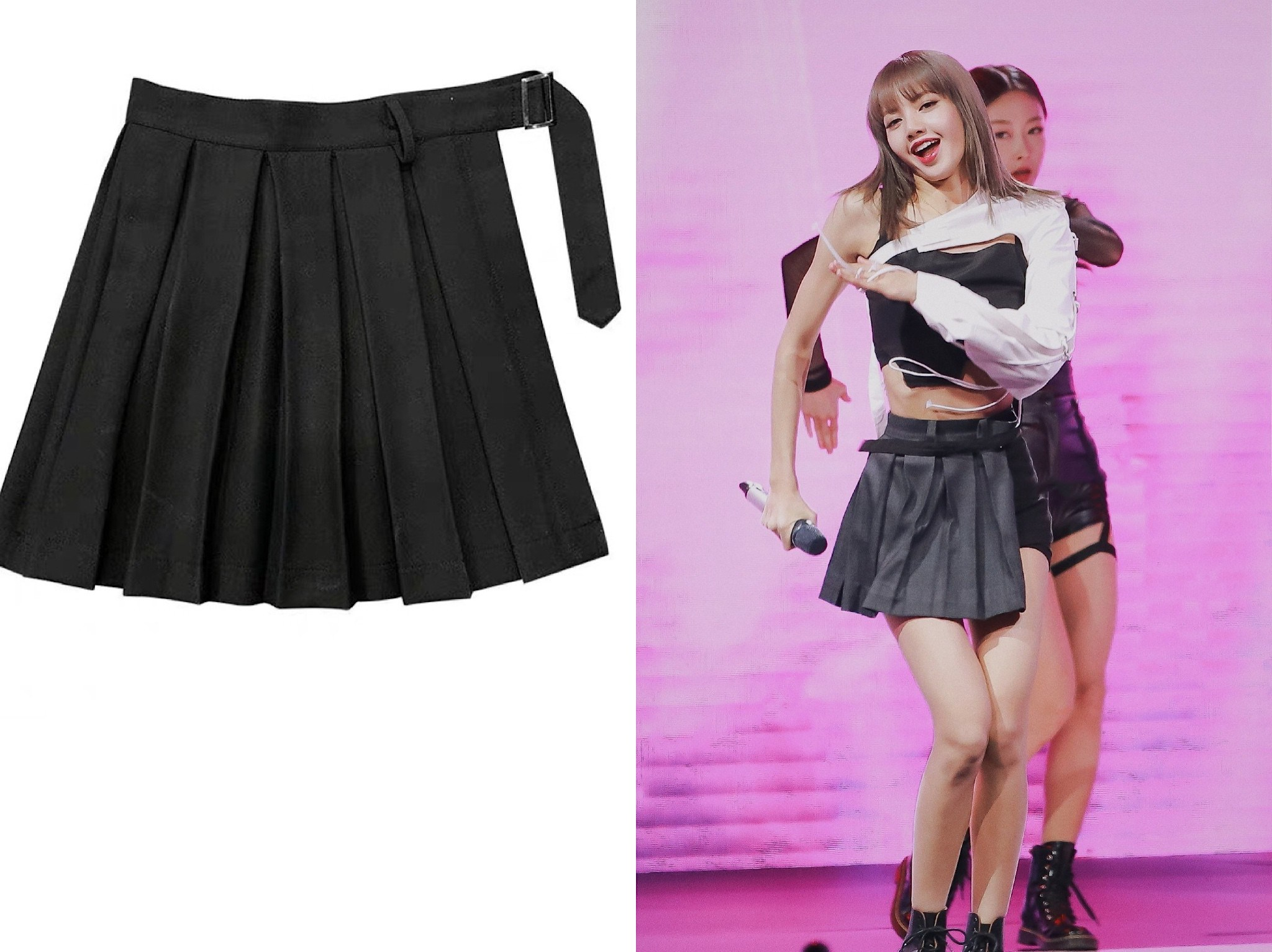 Kpop Blackpink Lisa Same Gothic Wind Split Ends Loose Pleated Skirt Women Korean Black Sexy High Waist Mini Skirt Female Clothes