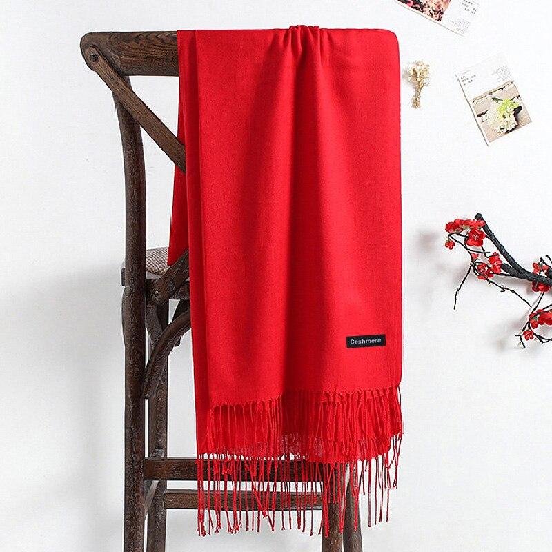 2020 Women Scarf Women Autumn Winter Shawl Scarf Cashmere Scarves Solid Lady Wraps Stoles Soft Female Hijab Scarf Pashmina