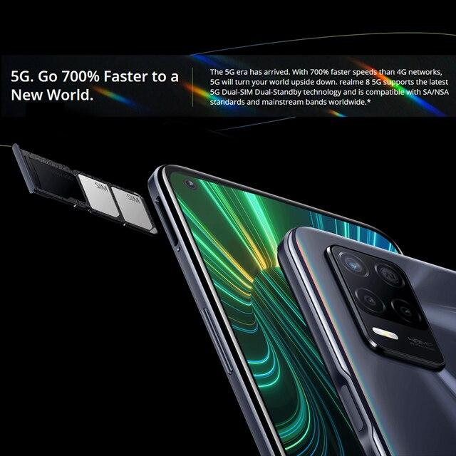 [World Premiere In Stock] Global Version Realme 8 5G Smartphones 6.5'' Dimensity 700 5G 48MP Camera 5000mAh 6GB 128GB Cellphones 4