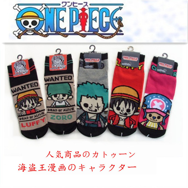 One Piece Printed Socks Zoro Chopper Luffy Cute Funny Happy Cartoon Cotton Sock Spring Summer Soft Comfort Breathable Calze Uomo