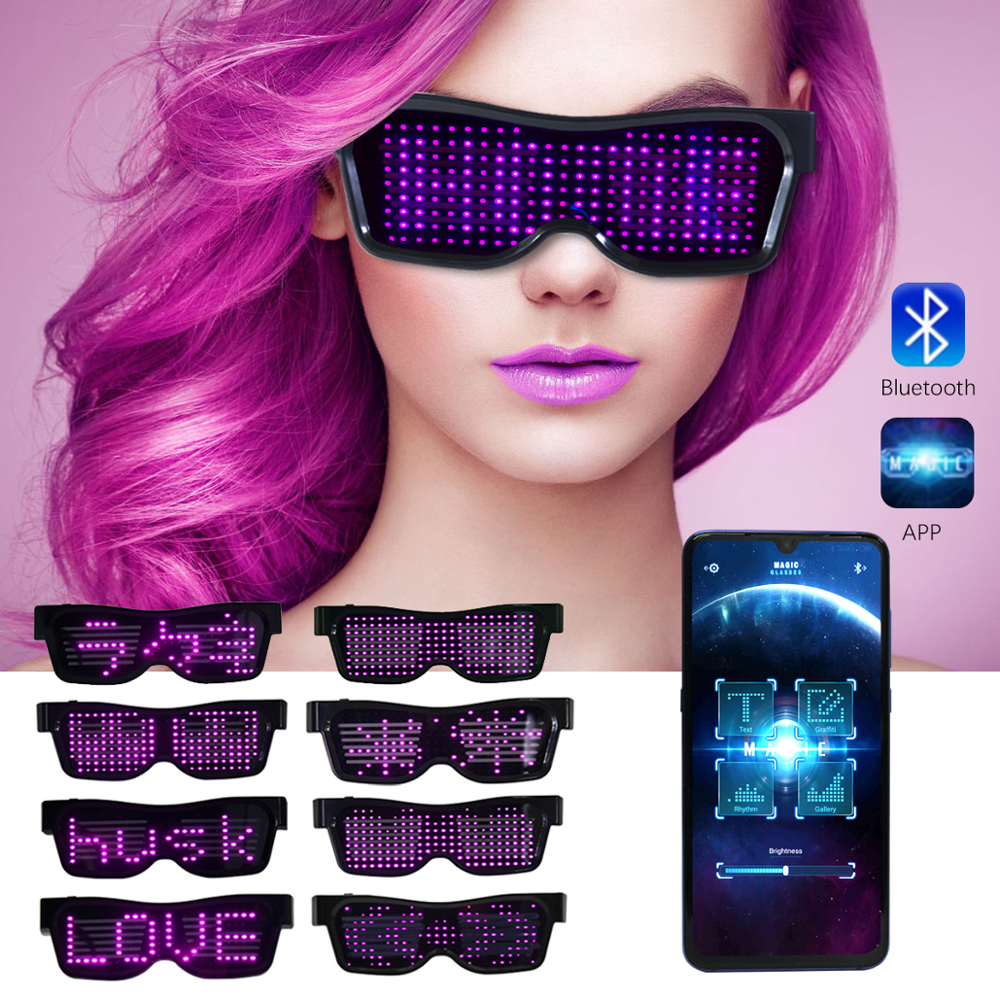 Led Party Glasses Novelty Magic Bluetooth Light APP Control Shield Luminous Glasses USB Charge DIY App Control Multi-lingual Quick Flash