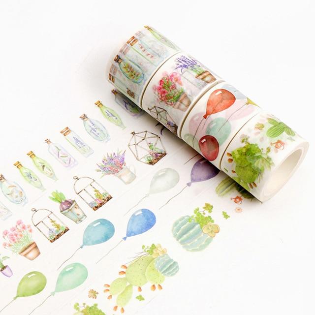 Cute Creative Feather Cactus Washi Masking Tape Cartoon Panda Adhesive Tapes For Photo Album Diary Decoration School Stationery