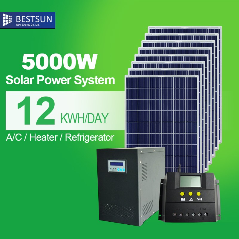 Obliging High Efficiency Complete Home Use Solar System Off Grid Ac Solar Panel Systems 5kw For South Africa Use Bestsun