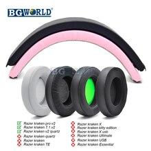 BGWORLD Replacement oval round Earpads Foam Ear Pads Headband for Razer Kraken 7.1 Chroma V2 USB Gaming Pro V2 Headphone