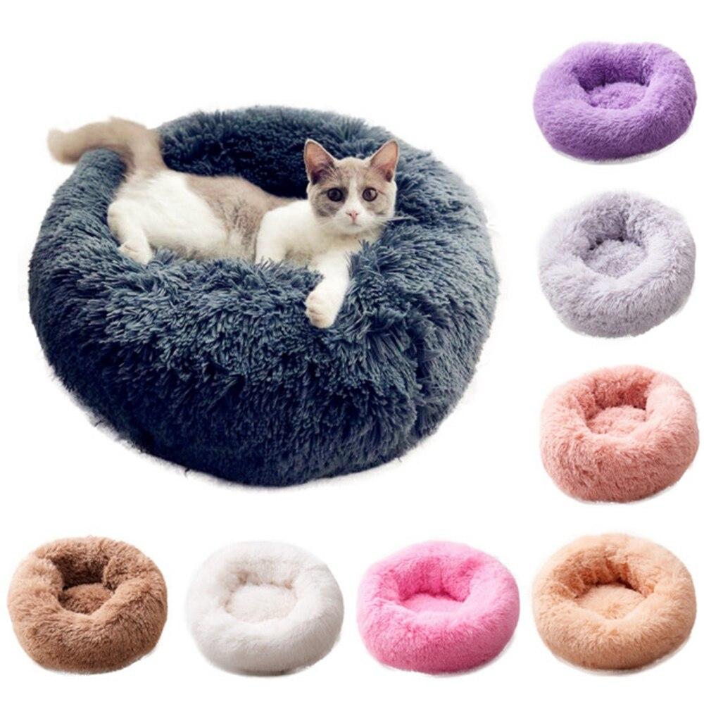 Fleece Katze Betten Runde Pet Bett Für Katzen Hund Plüsch Bett Haus Für Katze Kätzchen Marshmallow Katze Bett Matte Kissen kennel Pet Liefert