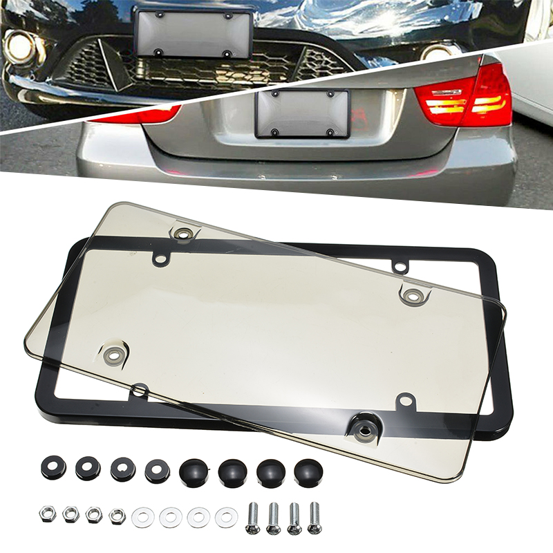 Braket Fit TOYOTA Smoke Tag Cover Slim Carbon Fiber License Plate Frame