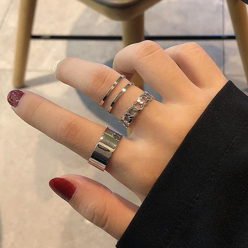 Hot Hiphop/Rock Metal Geometry Circular Punk Rings Set Opening Index Finger Accessories Buckle Joint Tail Ring for Women Jewelry