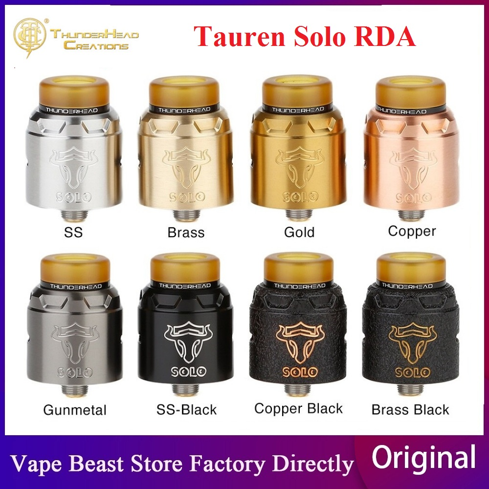 Original THC Tauren Solo RDA With 2ml Capacity 24mm RDA With Single Coil & 31-micro Air Holes BF Pin Vape Tank Vs Drop RDA/ Loop