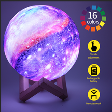 3D Printing Moon Lamp LED Colorful Change Touch Home Decor Creative Gift Usb Night Light Galaxy Lamp Kids Birthday Gift
