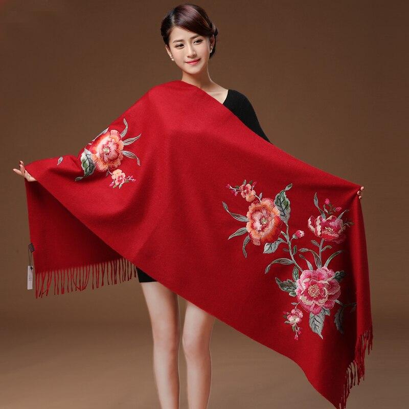 Cashmere Head Scarves Women Elegant Lady Carf And Warm Shawl Long Floral Embroider Stoles Bandana Scarf Hijab Beach Blanket