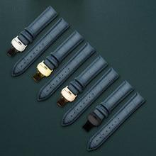 Genuíno relógio pulseira de couro azul escuro strap Borboleta Fecho pulseira 10 12 13 14 15 16 17 18 19 20 21 22 24 milímetros faixa de relógio