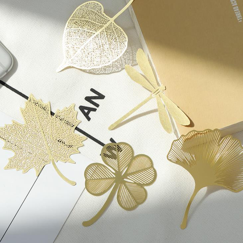 1 Pcs Hollow Gold Leaves Veined Brass Ginkgo Dragonfly Parasol Bodhi Leaf Metal Bookmark Book Marker Stationery Gifts
