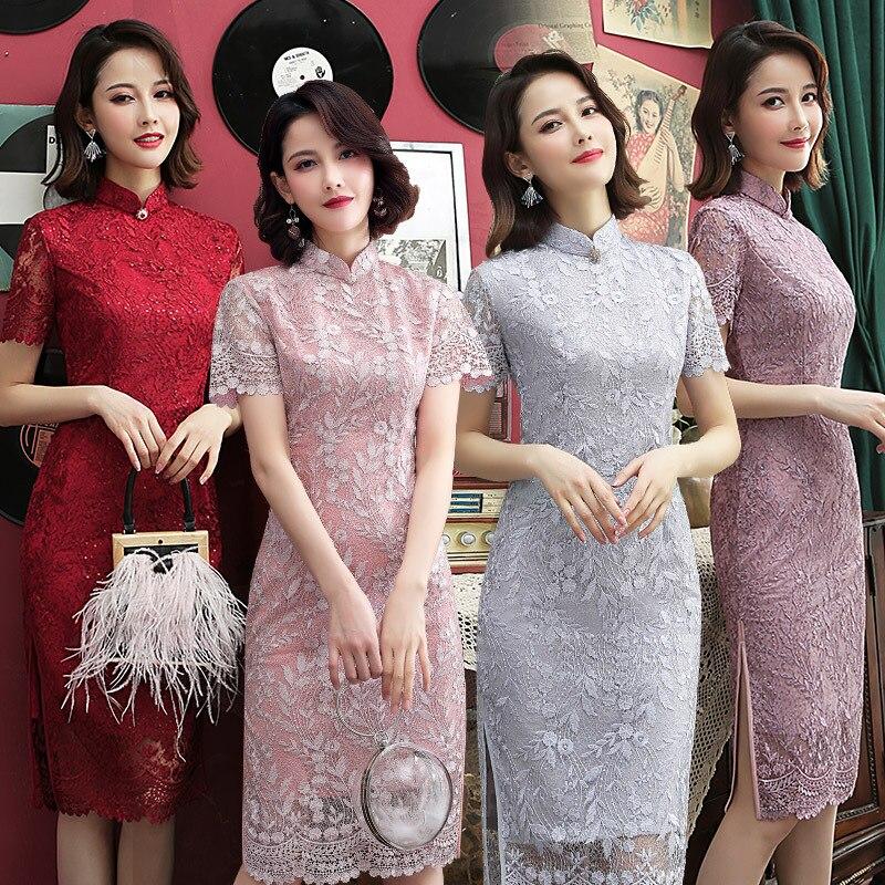 New Style Cheongsam WOMEN'S Dress Improved Cheongsam Dress Lace Cheongsam Banquet Formal Dress GIRL'S Cheongsam