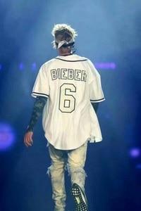 Image 2 - V คอ Justin Bieber OILERS Vintage จำนวน 6 เย็บปักถักร้อยผู้หญิงแฟชั่นสีฟ้าและสีขาวลายแขนเสื้อ