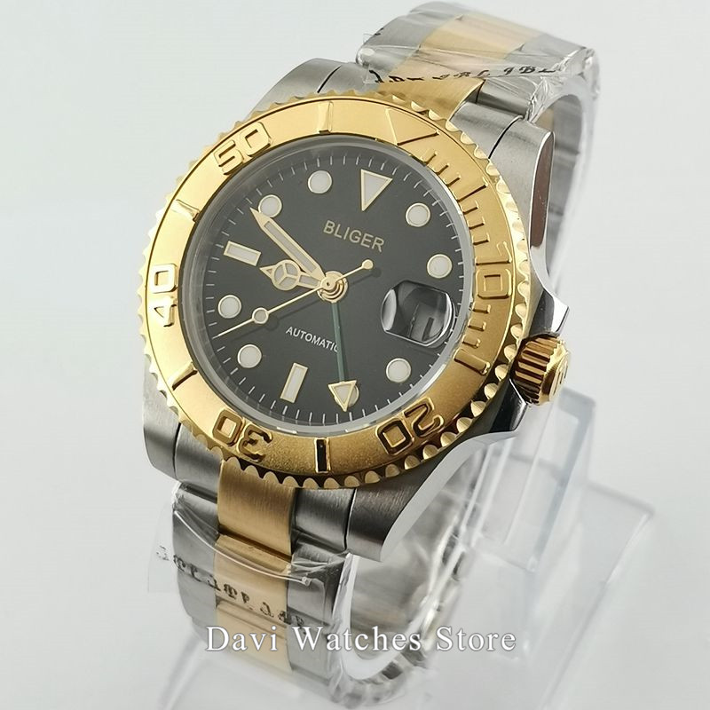 Bliger/Sterile 40mm Steel Yellow Gold Case Band Luminous Dial Hands GMT Mechanical Automatic Mens Wristwatch