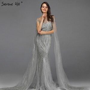 Image 4 - Grey Luxury Sleeveless Dubai Design Evening Dresses 2020 O Neck Crystal Beading Sexy Evening Gowns Serene Hill LA70160