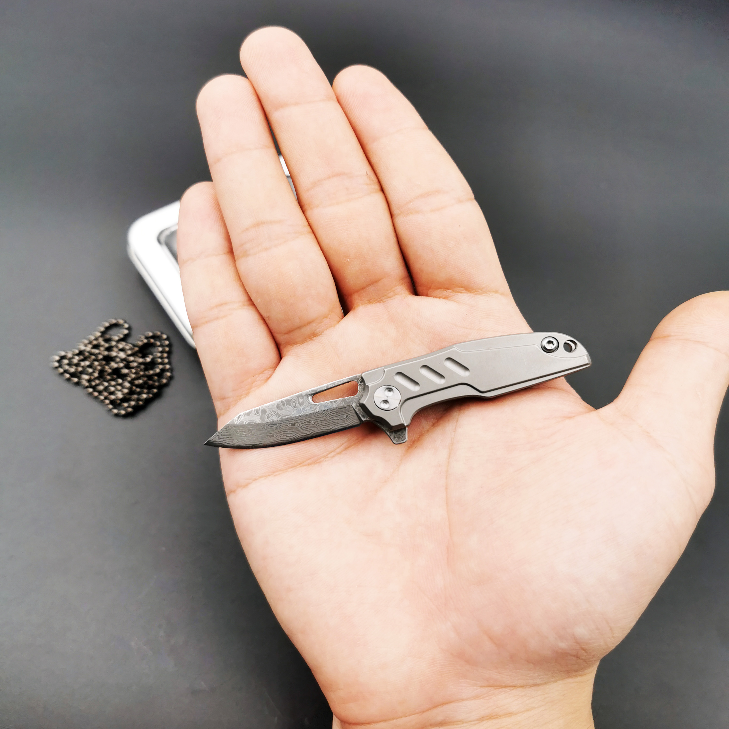 Mini Folding Knife D2 Damascus Blade Steel TC4 Titanium Handle Outdoor Camping Survival Diving Gift Knives Tactical EDC Tool in Knives from Tools