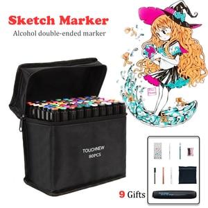 Image 1 - TOUCHFIVE 80 marcadores de colores Manga, rotuladores de dibujo a base de Alcohol, boceto, punta de fieltro, pincel doble oleoso, suministros de arte para estudiantes