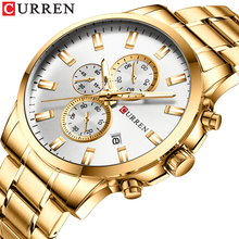 цена на CURREN Fashion Golden Men Quartz Watch 3 Sub Dial Date Stopwatch Multifunction Stainless Steel Band Business Clock For Male Gift