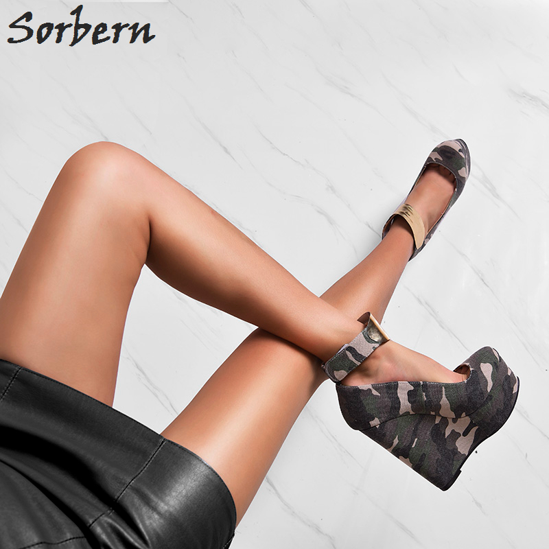Sorbern Green Camouflage Women Shoes Wedge High Heel Ankle Strap Platform Shoe Women Heels Canvas Small Size High Heels - 2