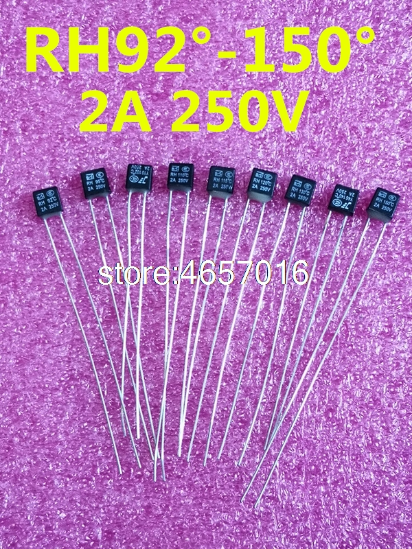 50pcs/Lot New RH 92/95/102/105/110/115/120/125/<font><b>130</b></font>/135/140/145 Degree Thermal <font><b>Fuse</b></font> <font><b>2A</b></font> <font><b>250V</b></font> image