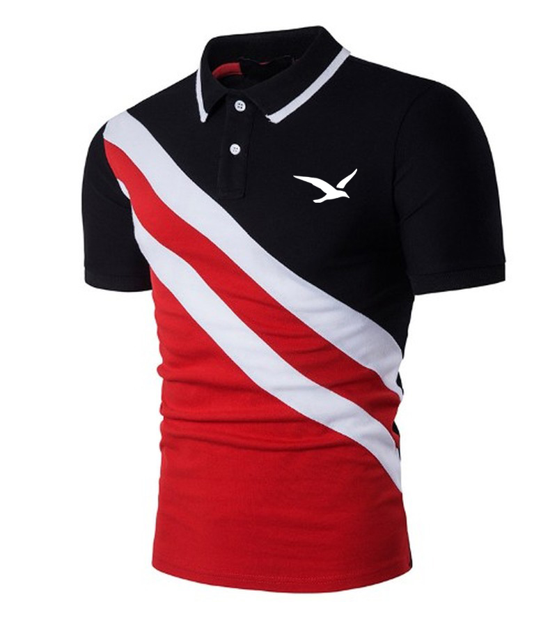 Seagull Print Summer Men Polo Shirt Casual Short-sleeve Hit Polo Shirt Oblique Striped Lapel Tops Men Slim Fit Breathable Polos