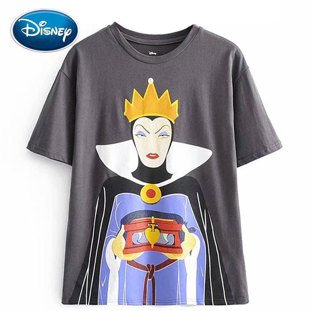 Disney Fashion Cute Snow White The Evil Queen Witch Cartoon Print Women T-Shirt O-Neck Pullover Short Sleeve Harajuku Tee Tops