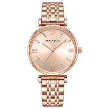 ミニフォーカス女性腕時計トップブランドの高級ファッション女性腕時計30メートル防水ローズゴールドステンレス鋼リロイmujer montreファム