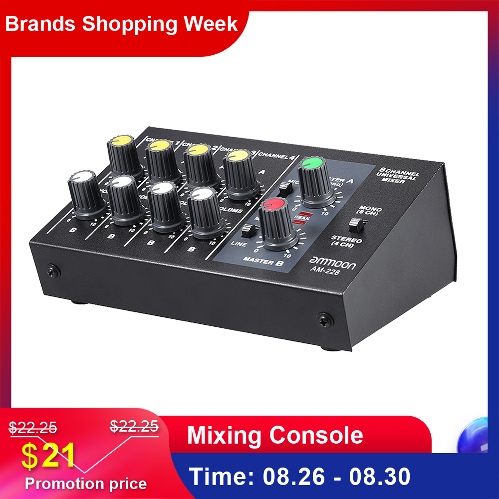 Ammoon Audio-Sound-Mixer Mixing-Console Ultra-Compact Stereo AM-228 8-Channels Power-Adapter-Cable