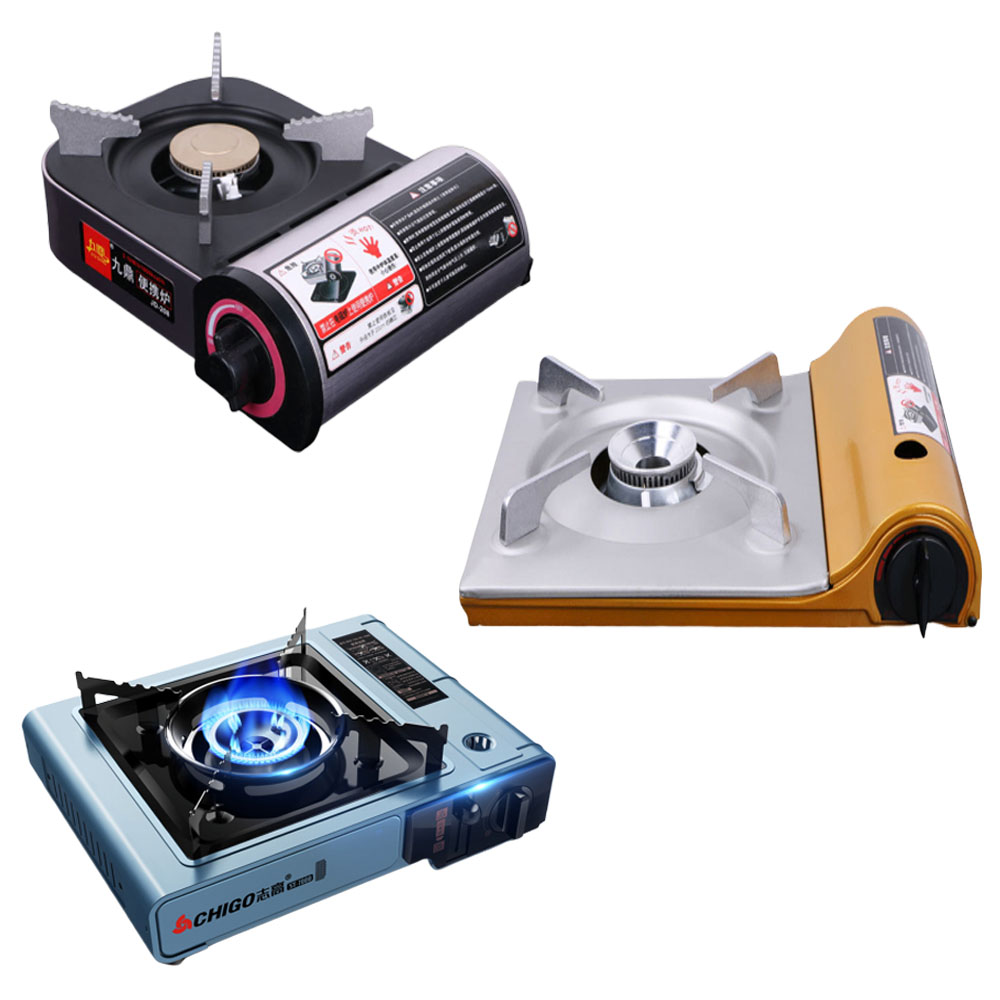 Outdoor Portable Cassette Gas Stove Windproof Wild Gas Barbecue Camping Hiking Travel Cooker Applicable Grill Dual Stove 3 Types